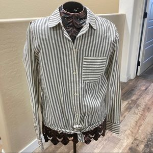 NWT Madewell oversized tie front crop button shirt